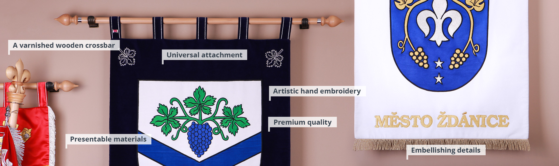Embroidered banners of arms