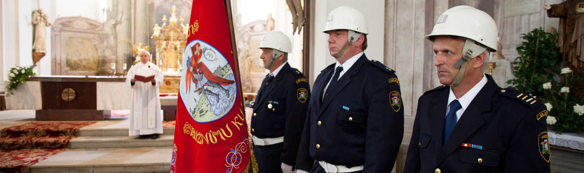 Embroidered ceremonial fire brigade banner and ribbon