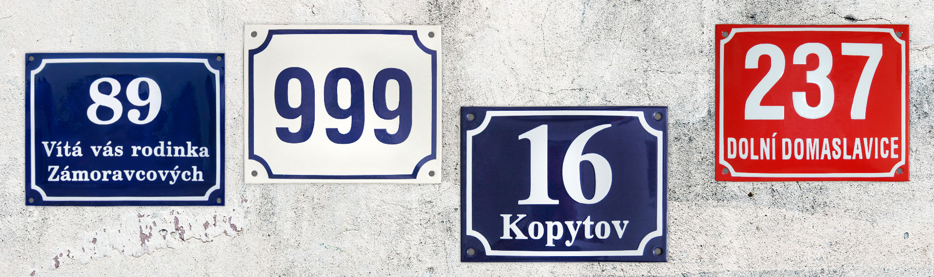 Street signs and house numbers