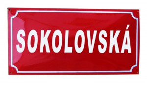 Enamel street sign with a text and a frame line