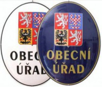 Enamel oval sign with the greater coat of arms of the Czech Republic