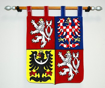 Embroidered ceremonial greater coat of arms of the Czech Republic in a smaller version