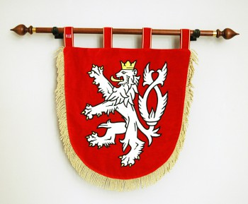 Embroidered lesser coat of arms (Czech Lion)