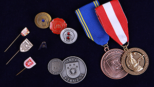 Lapel pins, medals, coins, awards and decorations