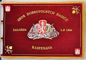 Fire brigade banner, hand embroidery