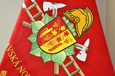 Embroidery on a fire brigade banner
