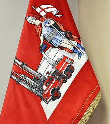 Close-up of the embroidery of Saint Florian – the banner of Unipetrol RPA