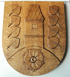 Hand-carved coat of arms