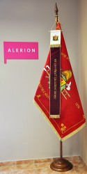 Embroidered banner and ribbon