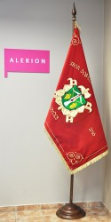 Embroidered ceremonial fire brigade banner for the Volunteer Fire Brigade (SDH) Lovcice
