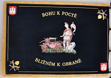 Embroidered banner of the Volunteer Fire Brigade (SDH) Raspenava