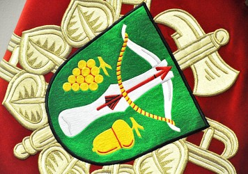 Close-up of the embroidery, the coat of arms of the Volunteer Fire Brigade (SDH) Lovčice