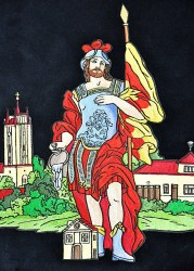 Close-up of the embroidery, Saint Florian on the banner of the Volunteer Fire Brigade (SDH) Podivín