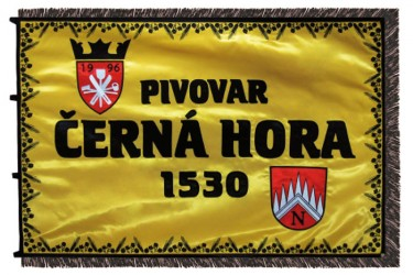 Embroidered business flag – Černá Hora brewery