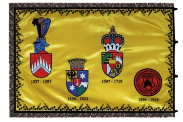 The backside of the embroidered satin flag - Černá Hora brewery