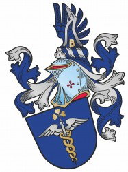 An example of a combination of a personal coat of arms with business symbolic devices