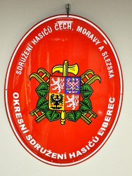 Enamel oval sign with the firefighter emblem (SH ČMS) and the greater coat of arms of the Czech Republic (volunteer firefighters association of Bohemia, Moravia and Silesia)