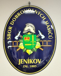 Enamel oval sign with a nostalgic fireman emblem and the coat of arms of Jeníkov