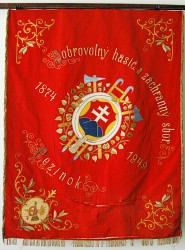 The original historical banner of Volunteer Fire Brigade (DHZ) Pezinok