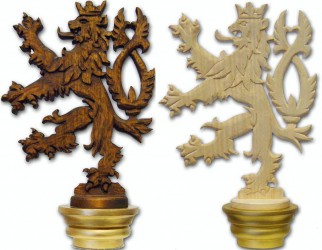 Hand carved flagpole finial, Czech double-tailed lion