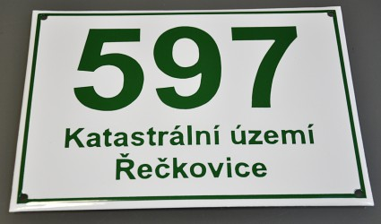Enamel house number, building registration number