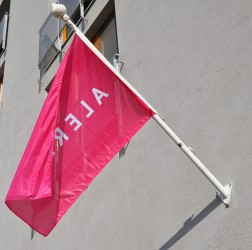 Wall mounted flagpole made of fibregalss with external halyard and steel base