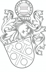 Personal heraldic achievement in black and white