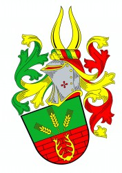 Personal coat of arms of Mr. Stanislav Kasl that bears motifs of his construction business