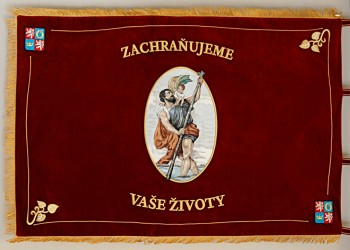 Embroidered ceremonial banner made for the Emergency Medical Services of the Hradec Králové Region (ZZS KHK), reverse