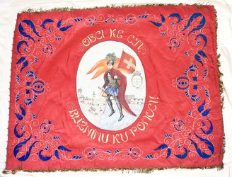 Backside of the original historical banner of Volunteer Fire Brigade (SDH) Dačice