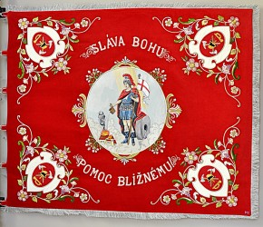 Replica of a historic banner for the Volunteer Fire Brigade (DHZ) Kostolany