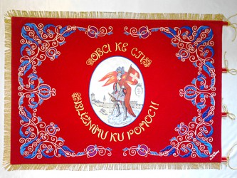 Historical banner replica, Volunteer Fire Brigade (SDH) Dačice
