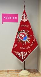 Historical banner replica, Volunteer Fire Brigade (DHZ) Veľké Kostoľany