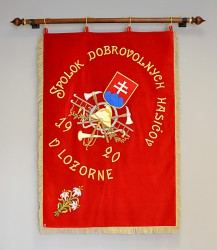Historical banner replica, Volunteer Fire Brigade (DHZ) Lozorno