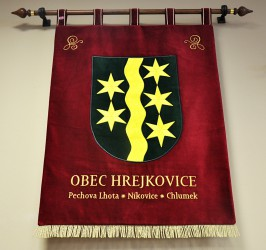 Embroidered banner of arms made for Hrejkovice, large version