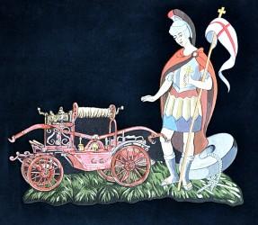 Saint Florian embroidery on the banner of the Volunteer Fire Brigade (SDH) Raspenava