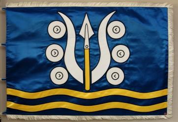 Embroidered satin flag of Dlouhá Ves