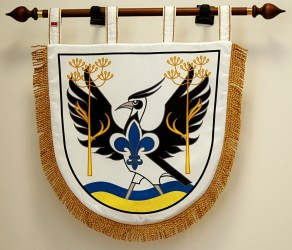 Printed satin banner of arms