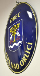 Enamel oval sign with a coat of arms and a name of a village/town/township
