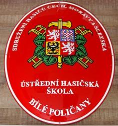 Enamel oval sign for Ústřední hasičská šola Bílé Poličany (central firefighter school in Bílé Poličany)