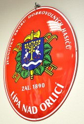 Fire brigade enamel oval sign with a coat of arms and the year of the foundation