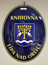 Enamel oval sign with the name of an institution (library)