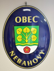 Enamel oval sign with the name of a town and its coat of arms