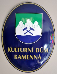 Enamel oval signs used for buildings (community centre)
