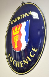 Enamel oval sign for local library (Lochenice)