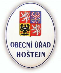 Enamel oval sign with the greater coat of arms of the Czech Republic and the text OBECNÍ ÚŘAD (Town Hall)