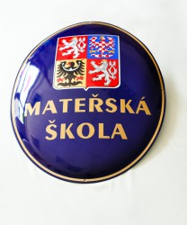 Enamel oval sign with the greater coat of arms of the Czech Republic and the name of an institution (kindergarten)