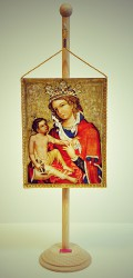 Iconic painting of Madonna of Veveri made into a table flag