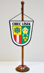 Table flag with town coat of arms