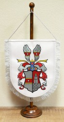 Embroidered table flag with a personal heraldic achievement